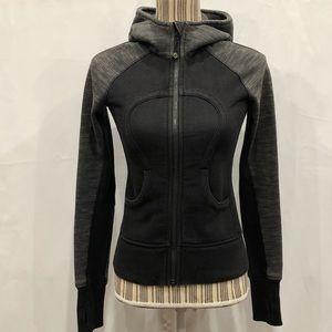 Lululemon hooded zip up jacket black and gray sz 2